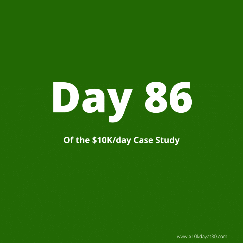 Day 86 of the case study to $10,000 a day in passive income