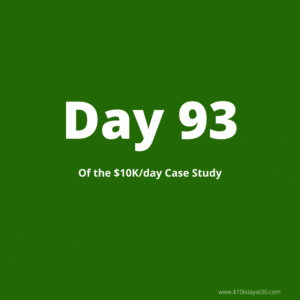 Day 93 of the $0-$10K/day at 30 case study