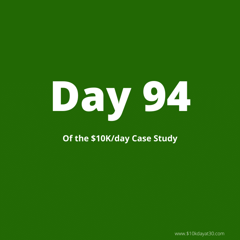 Day 94 of the $0-$10K/day case study